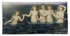 The Sea Maidens Beach Towel by Evelyn De Morgan