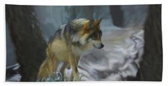 The Searching Wolf Beach Towel by Ernie Echols