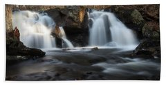 The Secret Waterfall In Golden Light Beach Towel