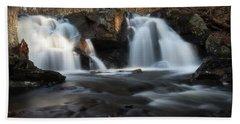 The Secret Waterfall In Golden Light Beach Sheet