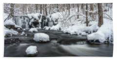 The Secret Waterfall In Winter 2 Beach Towel