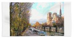 The Seine And Quay Beside Notre Dame, Autumn Beach Towel by Felipe Adan Lerma