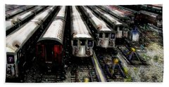 Beach Towel featuring the photograph The Seven Train Yard Queens Ny by Iowan Stone-Flowers