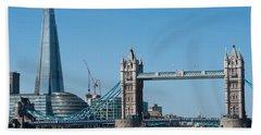 The Shard With Tower Bridge Beach Sheet