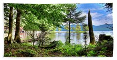 Beach Towel featuring the photograph The Shore At Covewood by David Patterson
