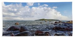 The Shore In Helsinki, Finland. Beach Towel