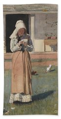 The Sick Chicken, 1874  Beach Towel