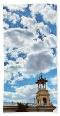 Beach Towel featuring the photograph The Sky Above The Towers Of Montjuic by Eduardo Jose Accorinti