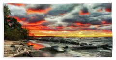 The Sky On Fire At Sunset On Lake Erie Beach Towel