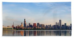 The Skyline Of Chicago At Sunrise Beach Towel