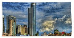 The Skyscraper And Low Clouds Dance Beach Towel by Ron Shoshani