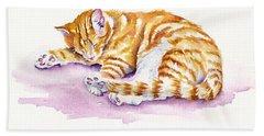 The Sleepy Kitten Beach Towel