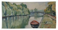 The Small Boat Along The Quai Of Halage Vise Beach Towel