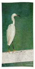 The Small White Heron - Snowy Egret Beach Towel