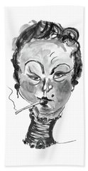 Beach Towel featuring the mixed media The Smoker - Black And White by Marian Voicu