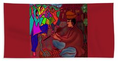 Beach Towel featuring the digital art The Snake Charmer by Latha Gokuldas Panicker