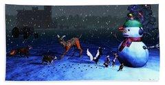 The Snowman's Visitors Beach Sheet by Ken Morris