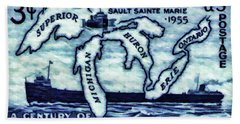 The Soo Locks Stamp Beach Towel