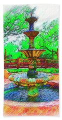The Spanish Courtyard Fountain Beach Sheet by Kirt Tisdale