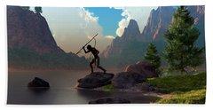 Beach Towel featuring the digital art The Spear Fisher by Daniel Eskridge