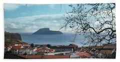 The Split Rock Of Terceira Beach Sheet by Kelly Hazel