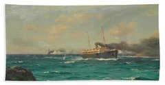 The S.s. Ortega Entering The Straits Of Nelson With The S.m.s. Dresden In Pursuit Beach Towel