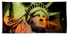 The Statue Of Liberty Beach Towel by Kim Gauge