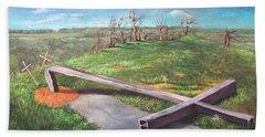 Millsfield Tennessee Steel Cross Beach Towel by Randy Burns