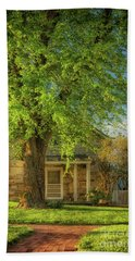 Beach Towel featuring the photograph The Stone Cottage On A Spring Evening by Lois Bryan