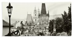 Beach Towel featuring the photograph The Stream Of People On Charles Bridge. Prague by Jenny Rainbow