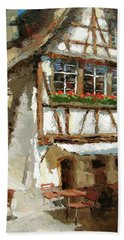 Beach Towel featuring the painting The Streets Of Strasbourg by Dmitry Spiros