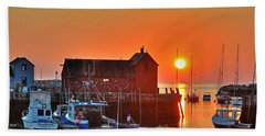 The Sun Rising By Motif Number 1 In Rockport Ma Bearskin Neck Beach Towel