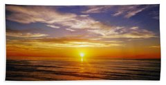 Beach Towel featuring the photograph The Sun Says Goodnight by Jean Haynes