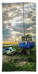 Beach Towel featuring the photograph The Sun Sets On The Ellen Kelly by Brian Tarr