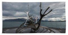 The Sun Voyager, Reykjavik, Iceland Beach Sheet by Venetia Featherstone-Witty