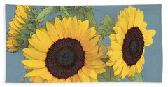 Beach Towel featuring the digital art The Sunflowers by I'ina Van Lawick
