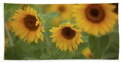 The Sunflowers In The Field Beach Towel