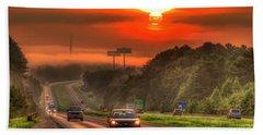 The Sunrise Commute Georgia Interstate 20 Art Beach Towel