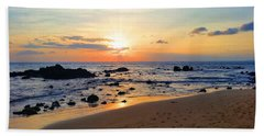 The Sunset Of Maui Beach Towel by Michael Rucker