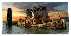 The Sunset Years Of The Mary D. Hume Beach Towel by James Eddy