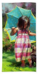 Beach Towel featuring the painting The Teal Umbrella by Steve Henderson