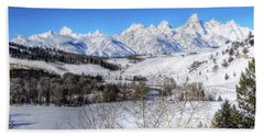The Tetons From Gros Ventre Valley Beach Sheet