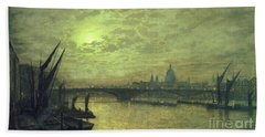 The Thames By Moonlight With Southwark Bridge Beach Towel