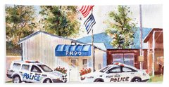 Beach Towel featuring the painting The Thin Blue Line by Kip DeVore