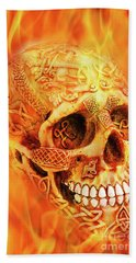 Flaming Skull Beach Towel