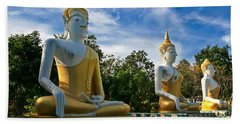 The Three Buddhas  Beach Towel