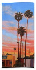 Beach Towel featuring the painting The Three Palms by Andrew Danielsen