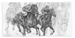 The Thunder Of Hooves - Horse Racing Print Beach Towel