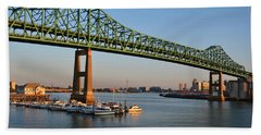The Tobin Bridge Into The Sunset Chelsea Yacht Club Beach Towel