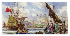 The Tower Of London In The Late 17th Century  Beach Towel